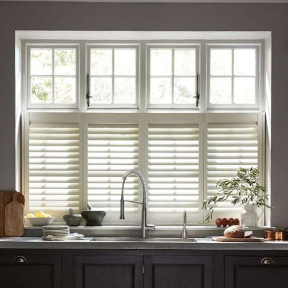 Cafe Style Shutters in Brighton Kitchen by Shutterly Fabulous