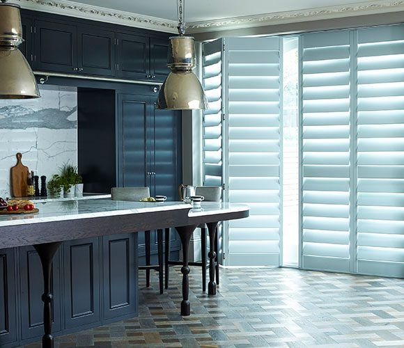 shutters for doors white with blue kitchen by Shutterly Fabulous