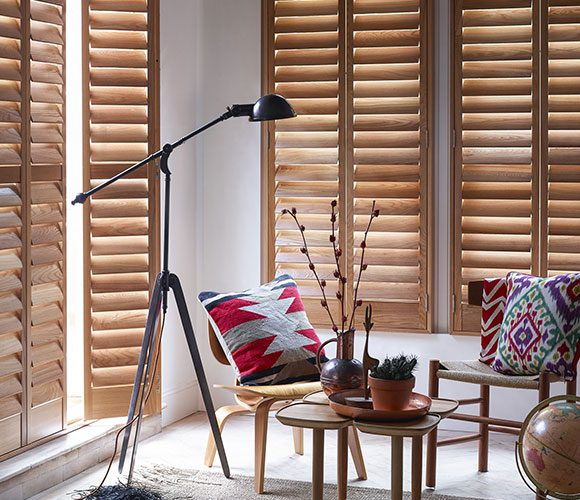 wooden shutters in sitting room
