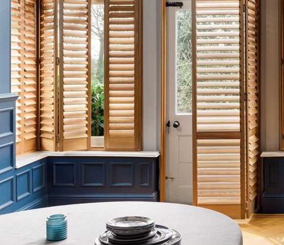 Natural Wood Shutters for Kitchen Doors by Shutterly Fabulous