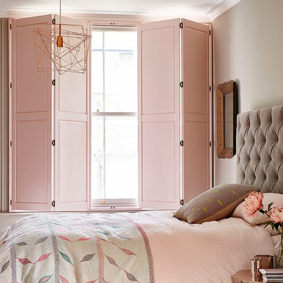 Solid Panel Shutters for Bedroom Custom Colours by Shutterly Fabulous